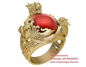 3D printable model 1921 The Four Holy Beasts Lucky Ring