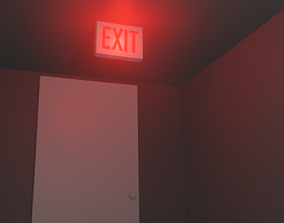 3D asset game-ready Exit Sign