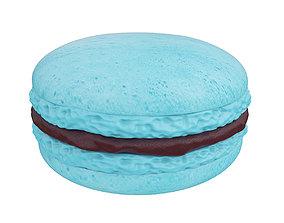 Blue macaroon with chocolate cream 3D