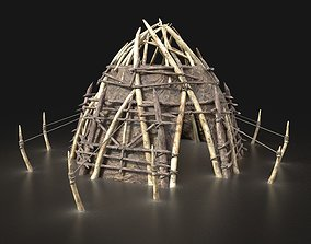 Round Orc Orcish Primal Tent Simple House Hut 3D model 1