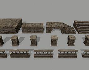 3D asset low-poly ruin set