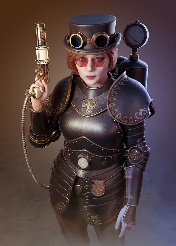 Steampunk Girl Officer
