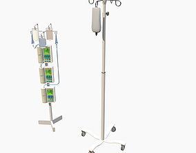 3D asset VR / AR ready IV poles