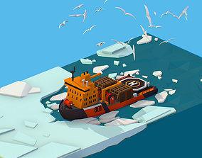3D model Isometric Boat breaking Ice North pole sea