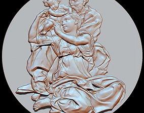 michelangelo sculpture rilief tondo 3D printable model 2