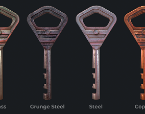 3D asset Metal key for the door lock