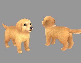 Cartoon pet puppy - Golden - baby dog 3D asset