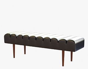 Custom made black leather bench 3D