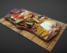 3D model Cheese and cold meat assorted plate