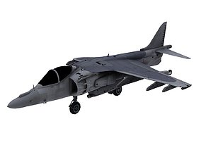 3D asset Lowpoly McDonnell Douglas AV-8B Aircraft Model
