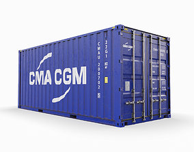 20 feet CMA-CGM standard shipping container 3D