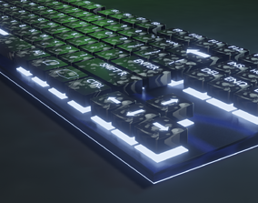 realtime Mechanical keyboard Low-poly 3D model