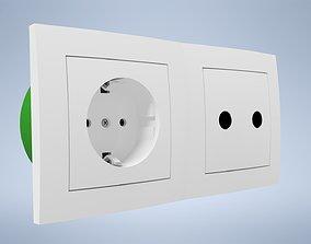 Socket with antenna and TV socket EKONOMIK WHITE 3D asset
