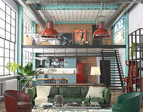 Industrial Loft REDSHIFT 3D model