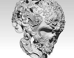 Carved Man Skull Art 3D print model 3d