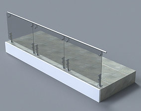 3D Glass handrail with Short Baluster staircase