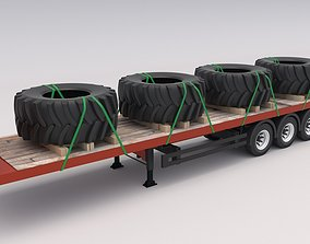 3D model Flatbed trailer with Tyres