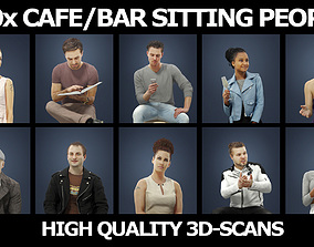 3D 10x Cafe Bar Scanned Sitting People Vol02