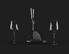 Wine Decanter and Wine Glass 3D model