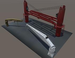 Ship deck crane low-poly 3D models low-poly