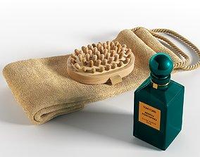 3D model Loofah Strap Massage Brush and Perfume