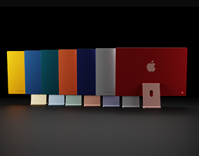 3D asset Apple Silicon iMac 24 inch in All Official Colors