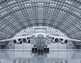 production 3D model Hangar Interior and Exterior Detailed