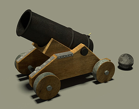 Cannon with textured parts 3D model