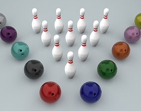Bowling Ball and Pins - Low-poly PBR 3D model