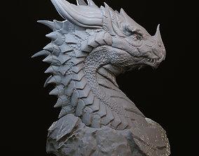 magical Dragon head in stone 3D print model