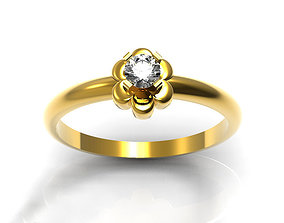 Simple Floral Engagement Ring 3D printable model