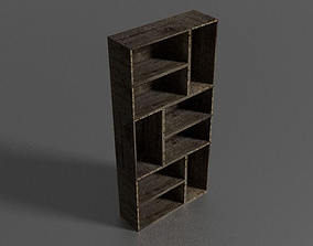 Wooden bookcase 3D asset realtime