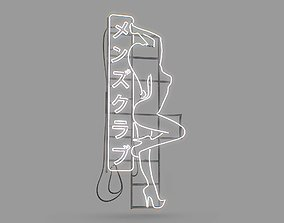 Game Ready Japanese Signs Set Sign Neon Girl 3D model