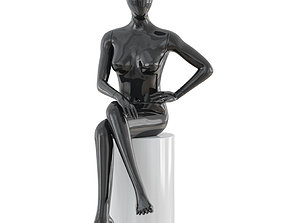 Seated faceless woman mannequin 22 3D model