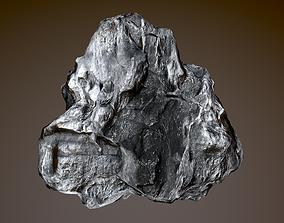 3D stone asteroid rock