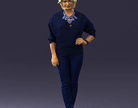 Blonde girl in a blue jacket and jeans 0210 3D Print