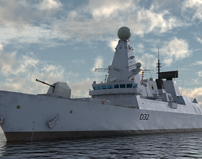 3D HMS Daring - Royal Navy Type 45 Air Defence Destroyer