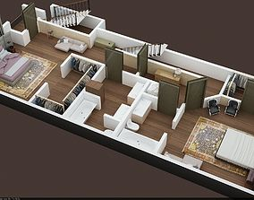 3d floor plan of appartment 1st floor 2 proposals
