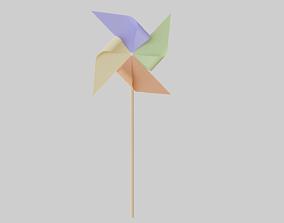 Paper Windmill 3D asset