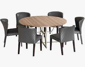 3D model Dining Table Hayes Acacia Chair Curran