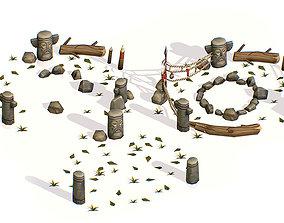 Handpaint Cartoon Place for Ritual Bonfire 3D model