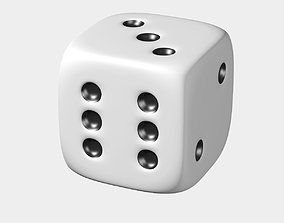 White Dice 3D asset low-poly