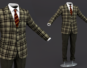 Suit men 3D Model Clothing 15