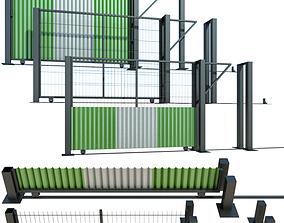 Fence Sliding gate for building 3D model