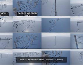 3D model Modular Barbed-Wire Fence Collection