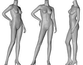 fashion female mannequin stand position no head 3d print
