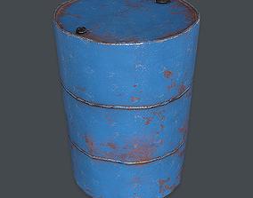 3D asset Metal Barrel Damaged VR PBR