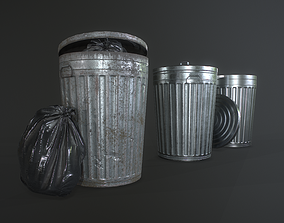 3D model Metal Trash Can with Garbage Bags