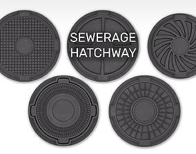 Sewerage hatchways set 3D model PBR