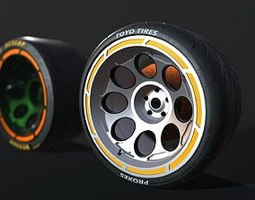 3D model Wheel for supercars with Dunlop and TOYO tire